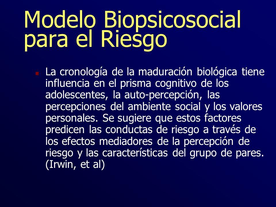 Modelo Biopsicosocial para el Riesgo n La cronología de la maduración biológica tiene influencia en el prisma cognitivo de los adolescentes, la auto-p