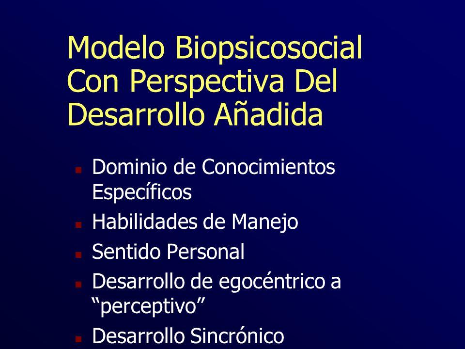 Modelo Biopsicosocial Con Perspectiva Del Desarrollo Añadida n Dominio de Conocimientos Específicos n Habilidades de Manejo n Sentido Personal n Desar