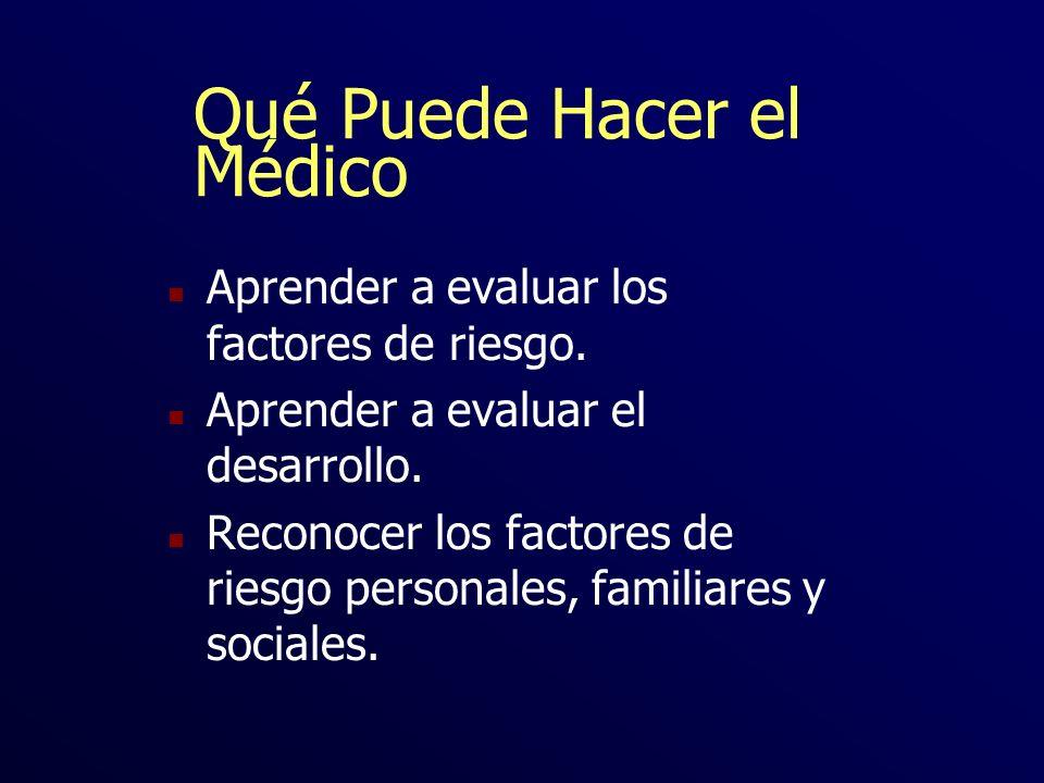 Qué Puede Hacer el Médico n Aprender a evaluar los factores de riesgo. n Aprender a evaluar el desarrollo. n Reconocer los factores de riesgo personal