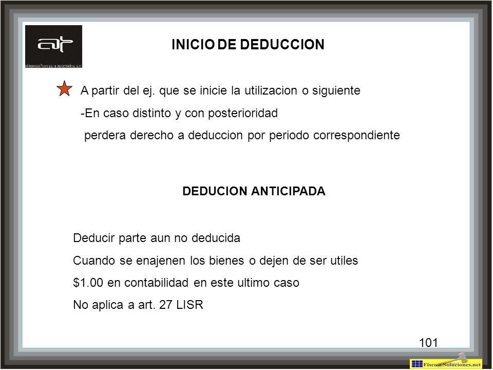 101 INICIO DE DEDUCCION A partir del ej. que se inicie la utilizacion o siguiente -En caso distinto y con posterioridad perdera derecho a deduccion po