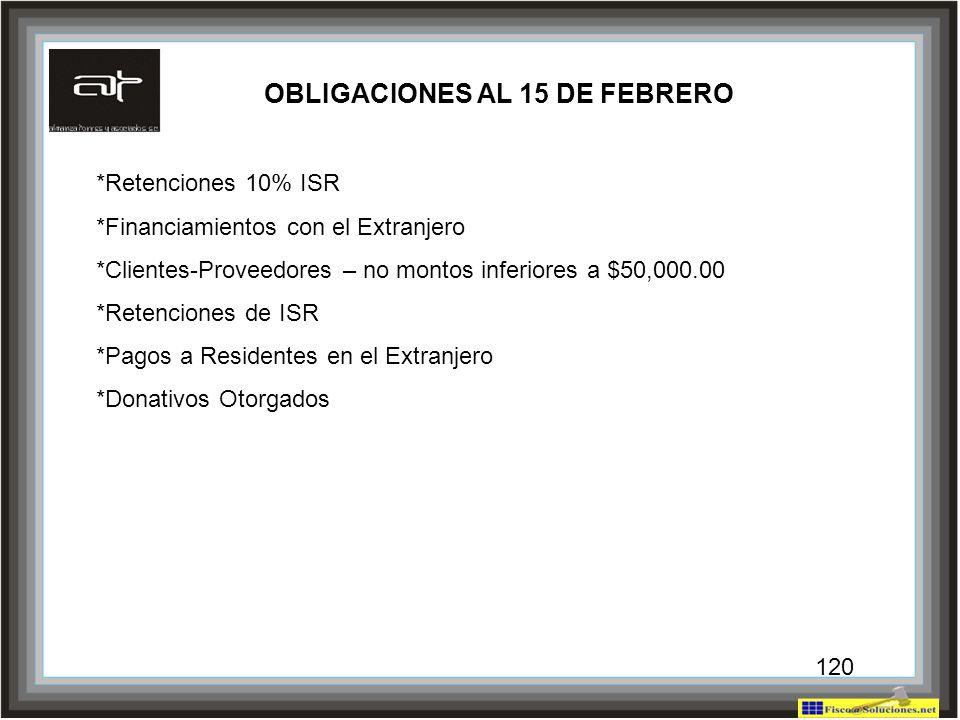 120 OBLIGACIONES AL 15 DE FEBRERO *Retenciones 10% ISR *Financiamientos con el Extranjero *Clientes-Proveedores – no montos inferiores a $50,000.00 *R