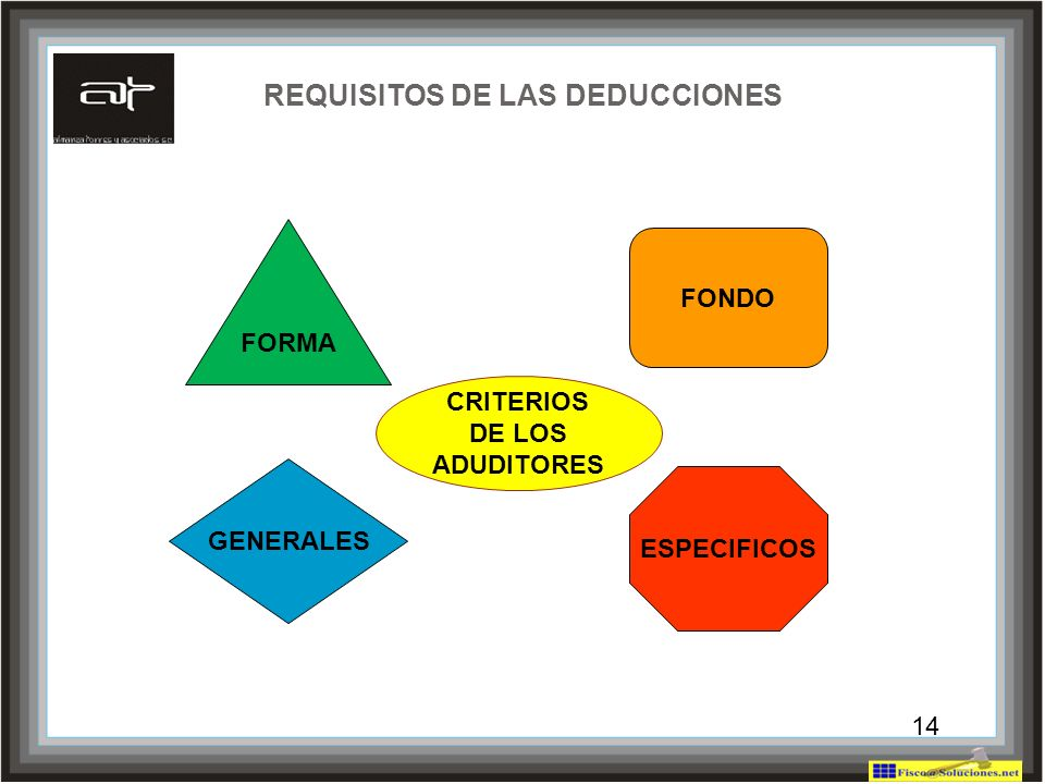 14 REQUISITOS DE LAS DEDUCCIONES FORMA ESPECIFICOS GENERALES FONDO 14 CRITERIOS DE LOS ADUDITORES