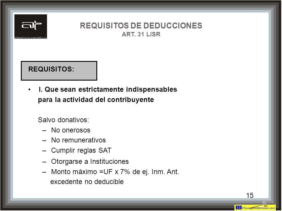 15 REQUISITOS DE DEDUCCIONES ART. 31 LISR REQUISITOS: I. Que sean estrictamente indispensables para la actividad del contribuyente Salvo donativos: –N