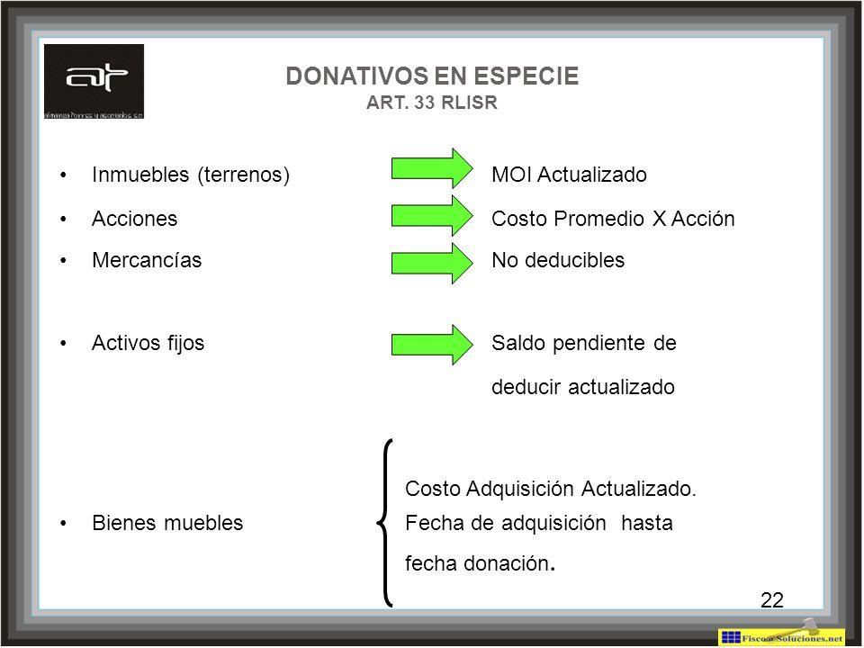 22 DONATIVOS EN ESPECIE ART. 33 RLISR Inmuebles (terrenos)MOI Actualizado Acciones Costo Promedio X Acción Mercancías No deducibles Activos fijos Sald