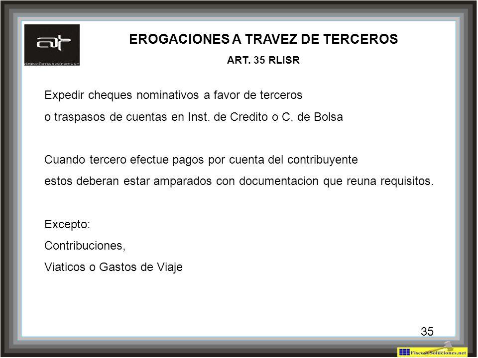 35 EROGACIONES A TRAVEZ DE TERCEROS ART. 35 RLISR Expedir cheques nominativos a favor de terceros o traspasos de cuentas en Inst. de Credito o C. de B