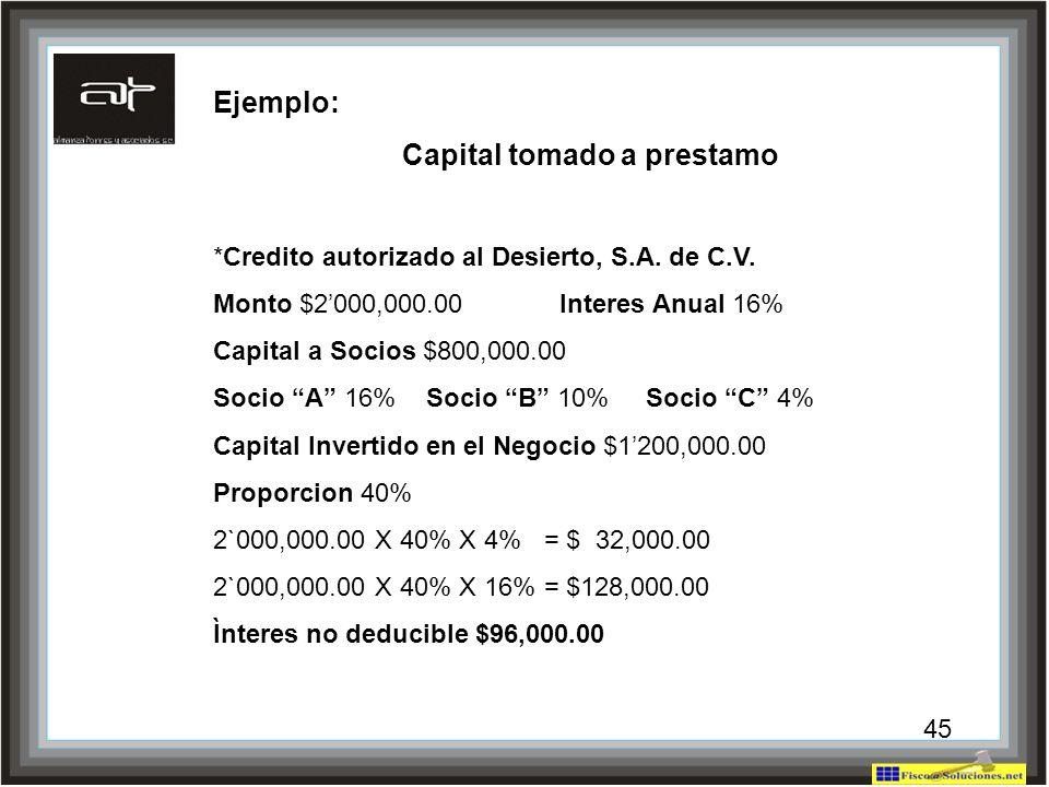 43 Ejemplo: Capital tomado a prestamo *Credito autorizado al Desierto, S.A. de C.V. Monto $2000,000.00 Interes Anual 16% Capital a Socios $800,000.00