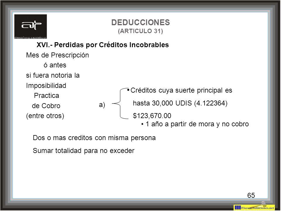 65 DEDUCCIONES (ARTICULO 31) XVI.- Perdidas por Créditos Incobrables Mes de Prescripción ó antes si fuera notoria la Imposibilidad Practica de Cobro (