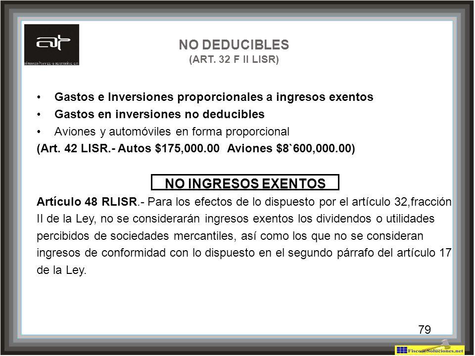 79 NO DEDUCIBLES (ART. 32 F II LISR) Gastos e Inversiones proporcionales a ingresos exentos Gastos en inversiones no deducibles Aviones y automóviles