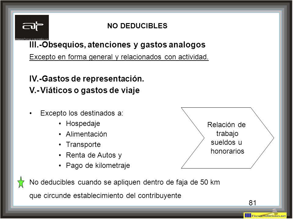 81 III.-Obsequios, atenciones y gastos analogos Excepto en forma general y relacionados con actividad. IV.-Gastos de representación. V.-Viáticos o gas