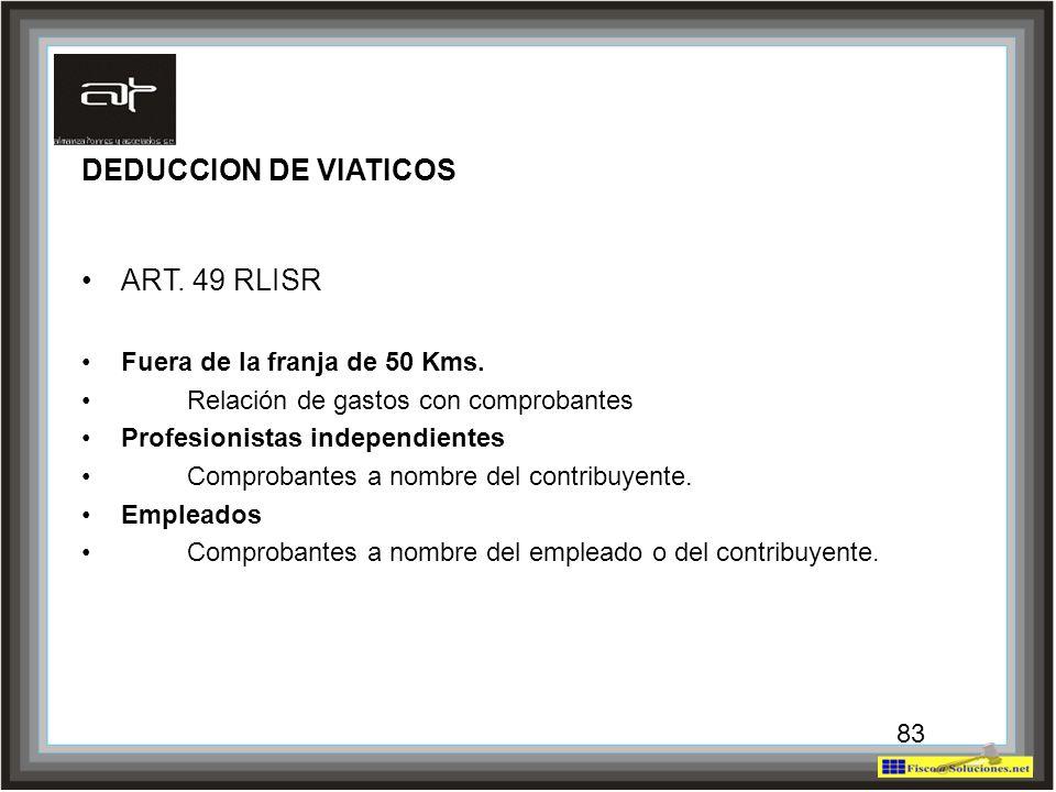 83 DEDUCCION DE VIATICOS ART. 49 RLISR Fuera de la franja de 50 Kms. Relación de gastos con comprobantes Profesionistas independientes Comprobantes a