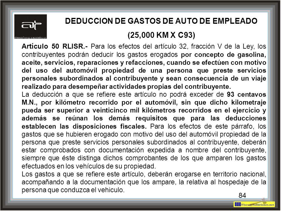 84 Artículo 50 RLISR.- Para los efectos del artículo 32, fracción V de la Ley, los contribuyentes podrán deducir los gastos erogados por concepto de g