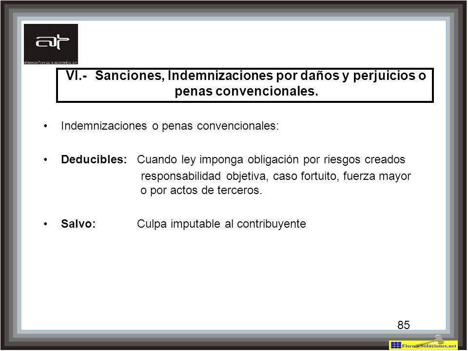 85 VI.-Sanciones, Indemnizaciones por daños y perjuicios o penas convencionales. Indemnizaciones o penas convencionales: Deducibles:Cuando ley imponga