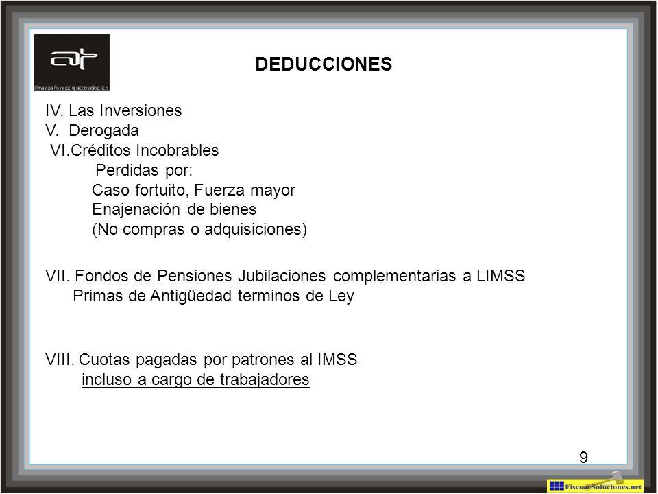 9 IV. Las Inversiones V. Derogada VI.Créditos Incobrables Perdidas por: Caso fortuito, Fuerza mayor Enajenación de bienes (No compras o adquisiciones)
