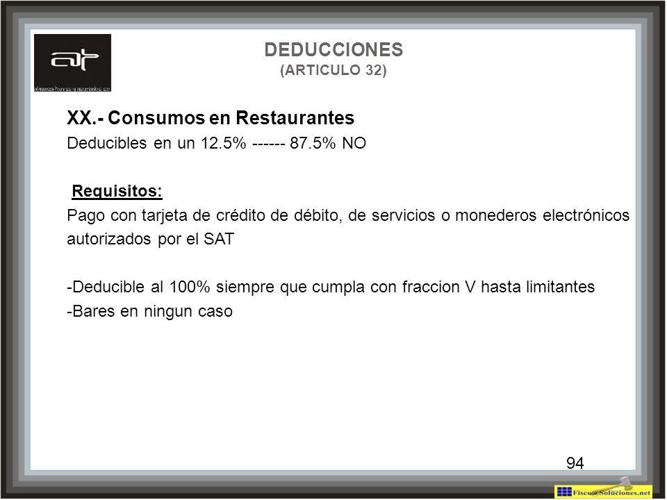 94 XX.- Consumos en Restaurantes Deducibles en un 12.5% ------ 87.5% NO Requisitos: Pago con tarjeta de crédito de débito, de servicios o monederos el