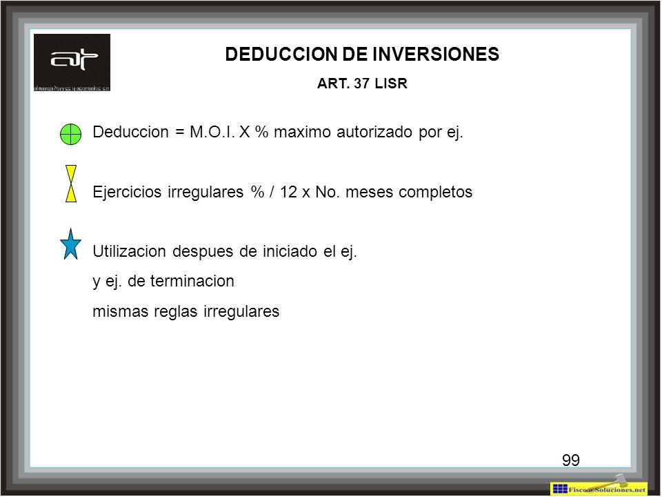 99 DEDUCCION DE INVERSIONES ART. 37 LISR Deduccion = M.O.I. X % maximo autorizado por ej. Ejercicios irregulares % / 12 x No. meses completos Utilizac
