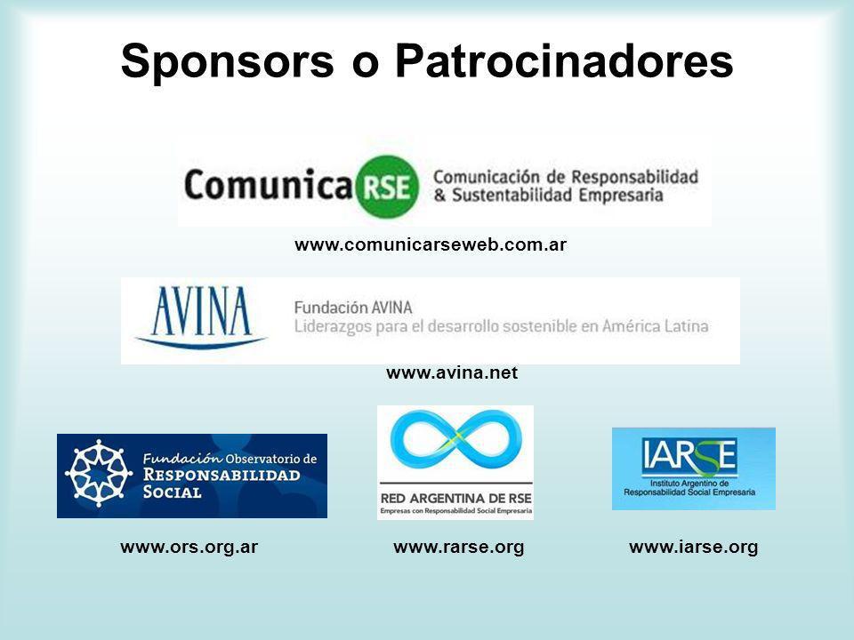 Sponsors o Patrocinadores www.comunicarseweb.com.ar www.avina.net www.rarse.orgwww.ors.org.arwww.iarse.org