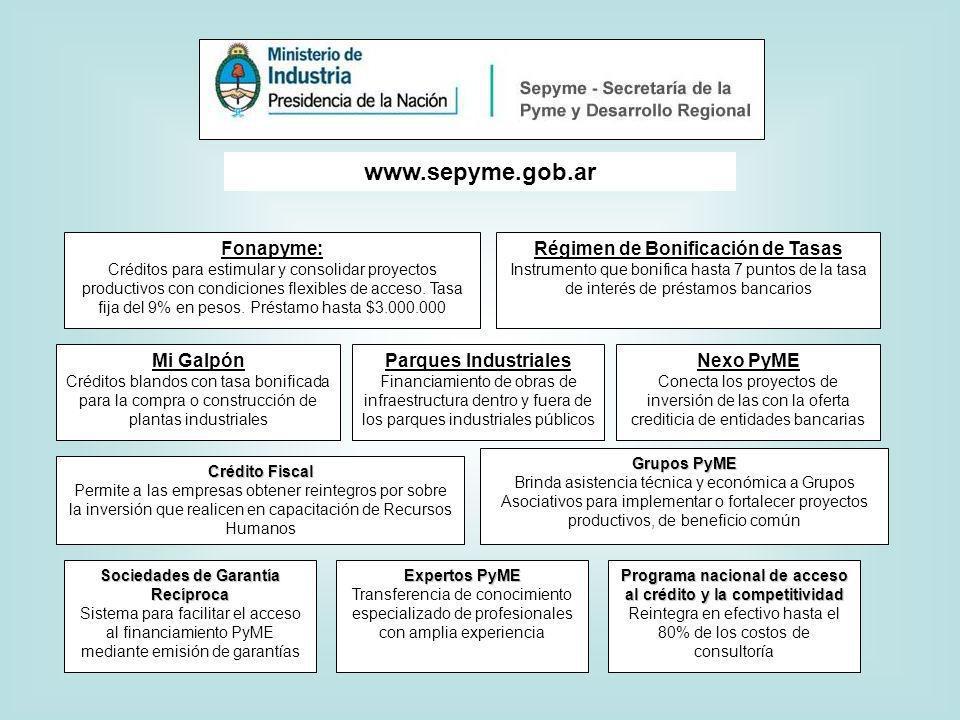 www.sepyme.gob.ar Fonapyme: Créditos para estimular y consolidar proyectos productivos con condiciones flexibles de acceso.