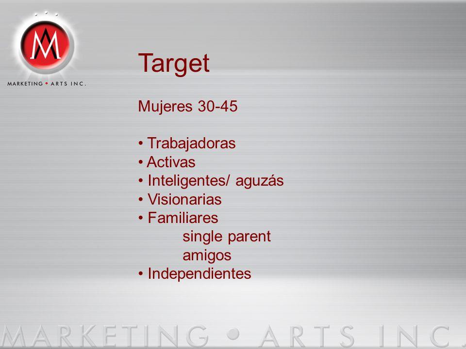 Target Mujeres 30-45 Trabajadoras Activas Inteligentes/ aguzás Visionarias Familiares single parent amigos Independientes