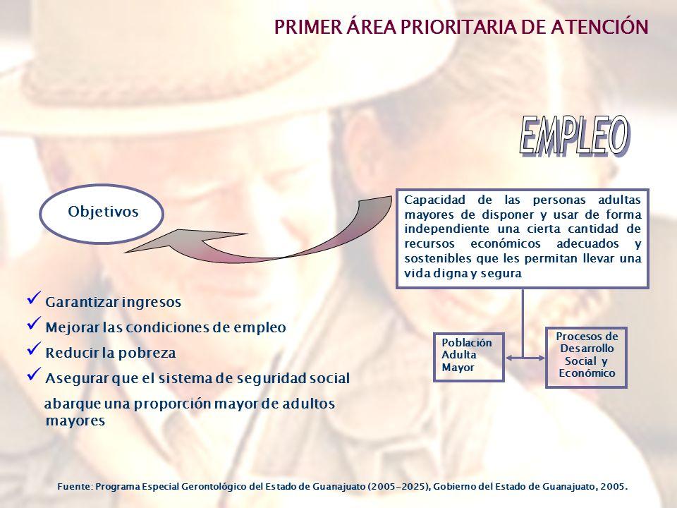 Capacidad de las personas adultas mayores de disponer y usar de forma independiente una cierta cantidad de recursos económicos adecuados y sostenibles que les permitan llevar una vida digna y segura Garantizar ingresos Mejorar las condiciones de empleo Reducir la pobreza Asegurar que el sistema de seguridad social abarque una proporción mayor de adultos mayores Objetivos Población Adulta Mayor Procesos de Desarrollo Social y Económico PRIMER ÁREA PRIORITARIA DE ATENCIÓN Fuente: Programa Especial Gerontológico del Estado de Guanajuato (2005-2025), Gobierno del Estado de Guanajuato, 2005.