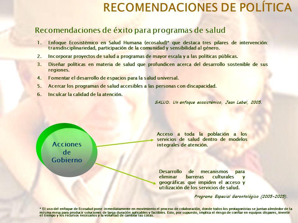 RECOMENDACIONES DE POLÍTICA Recomendaciones de éxito para programas de salud 1.Enfoque Ecosistémico en Salud Humana (ecosalud)* que destaca tres pilares de intervención: transdisciplinariedad, participación de la comunidad y sensibilidad al género.