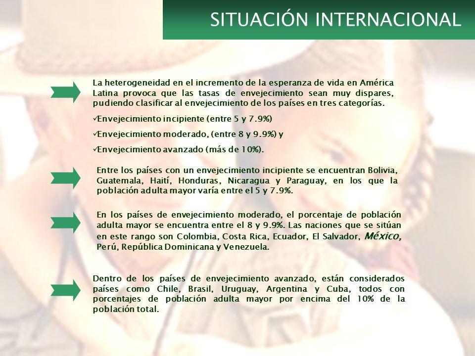 El estado de Guanajuato cuenta en el 2005 con un envejecimiento moderado del 8% En el 2005, 16 Municipios cuentan con un envejecimiento incipiente, lo que significa que entre el 5 y 7.9% de su población tiene 60 años o más.