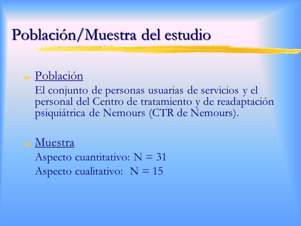 Población/Muestra del estudio Población El conjunto de personas usuarias de servicios y el personal del Centro de tratamiento y de readaptación psiquiátrica de Nemours (CTR de Nemours).