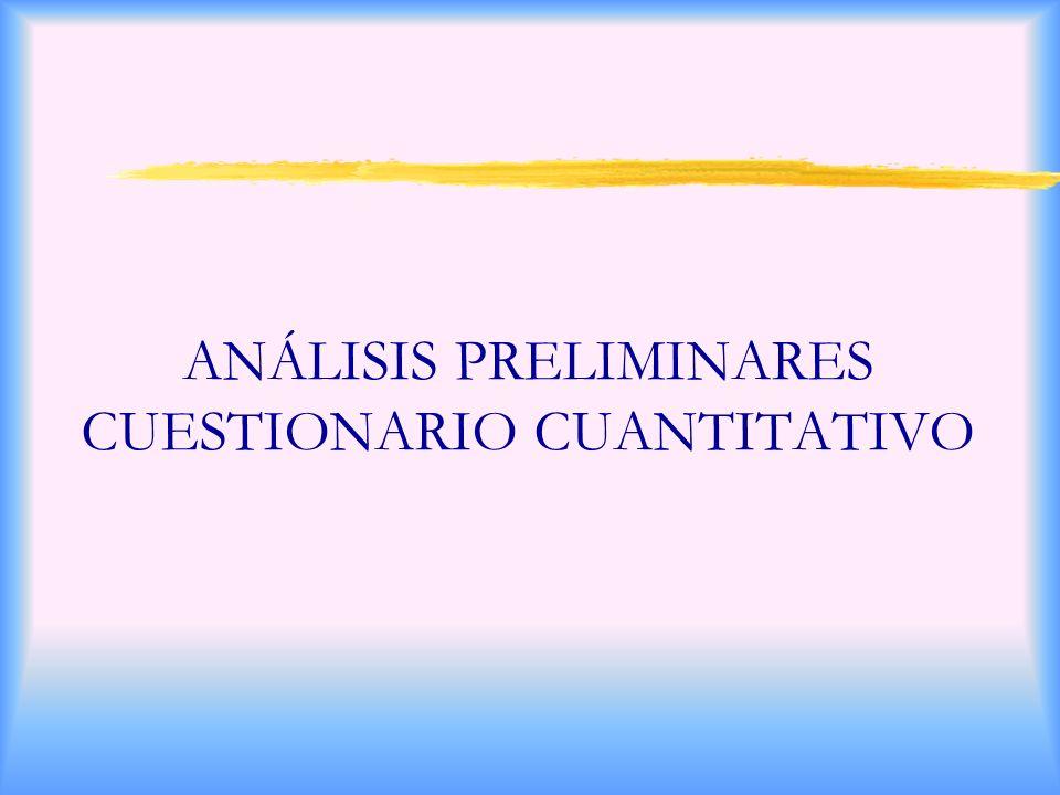 ANÁLISIS PRELIMINARES CUESTIONARIO CUANTITATIVO