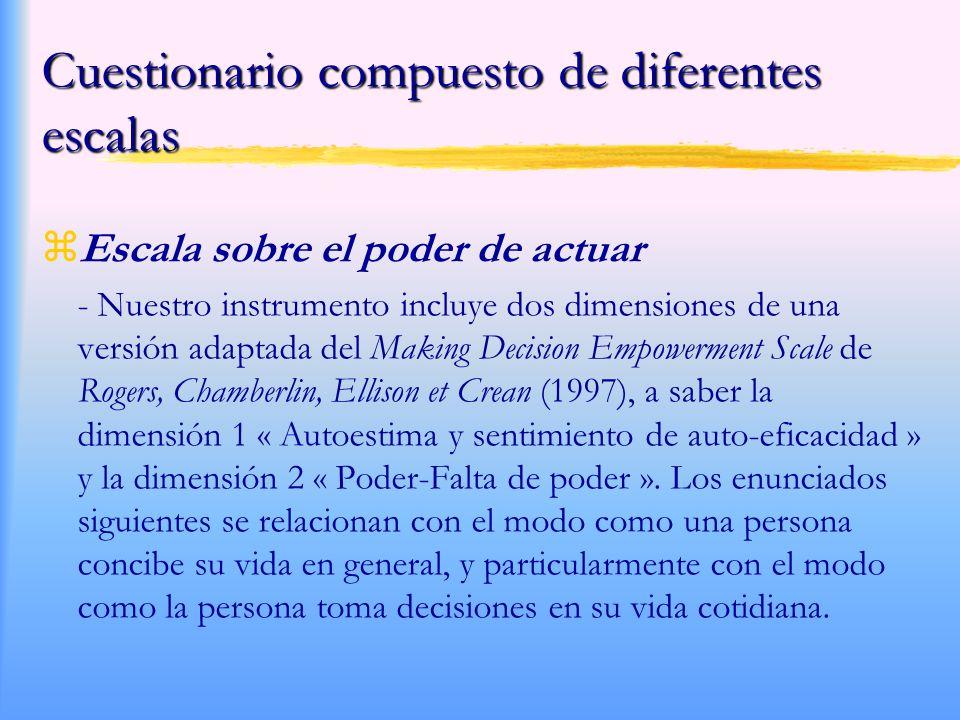 Cuestionario compuesto de diferentes escalas zEscala sobre el poder de actuar - Nuestro instrumento incluye dos dimensiones de una versión adaptada del Making Decision Empowerment Scale de Rogers, Chamberlin, Ellison et Crean (1997), a saber la dimensión 1 « Autoestima y sentimiento de auto-eficacidad » y la dimensión 2 « Poder-Falta de poder ».