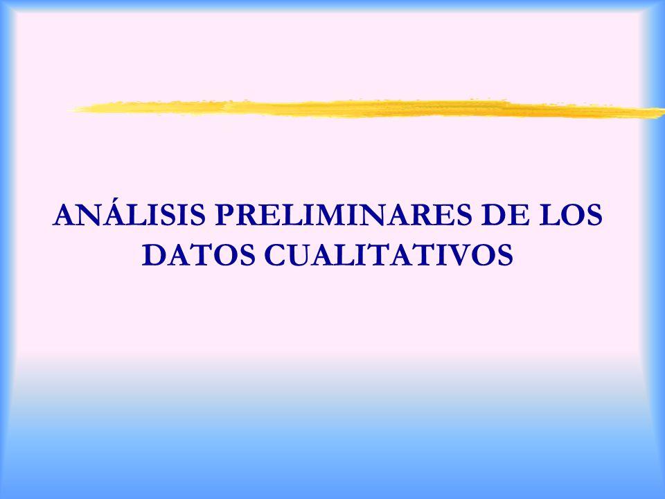 ANÁLISIS PRELIMINARES DE LOS DATOS CUALITATIVOS
