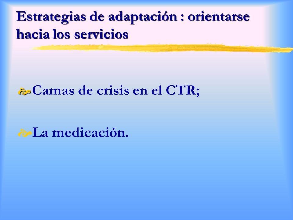 Estrategias de adaptación : orientarse hacia los servicios Camas de crisis en el CTR; La medicación.