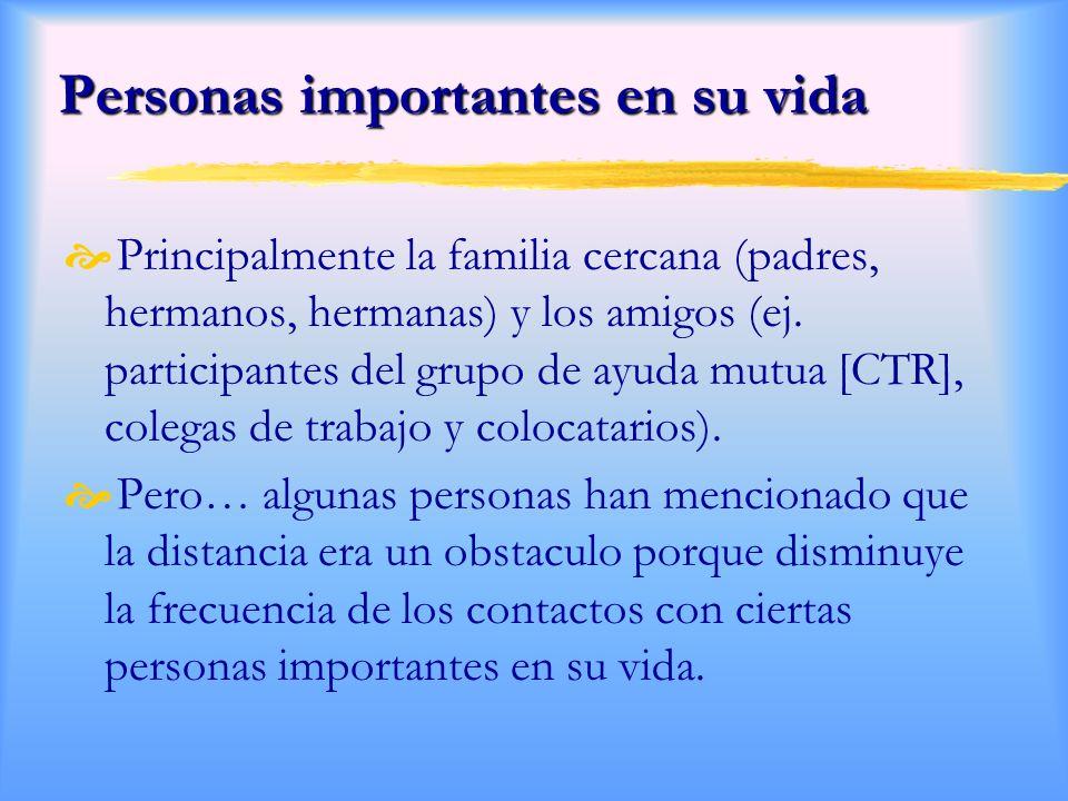 Personas importantes en su vida Personas importantes en su vida Principalmente la familia cercana (padres, hermanos, hermanas) y los amigos (ej.