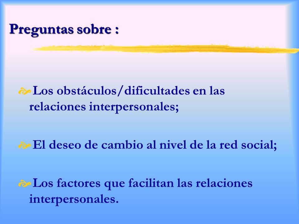 Preguntas sobre : Los obstáculos/dificultades en las relaciones interpersonales; El deseo de cambio al nivel de la red social; Los factores que facilitan las relaciones interpersonales.