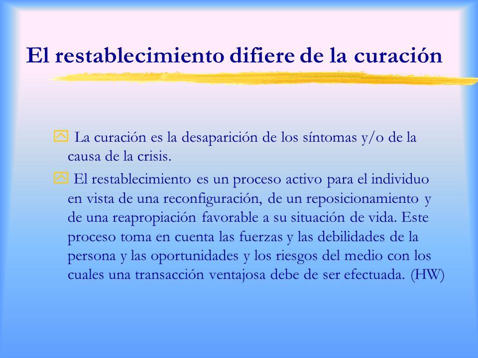 El restablecimiento difiere de la curación La curación es la desaparición de los síntomas y/o de la causa de la crisis.