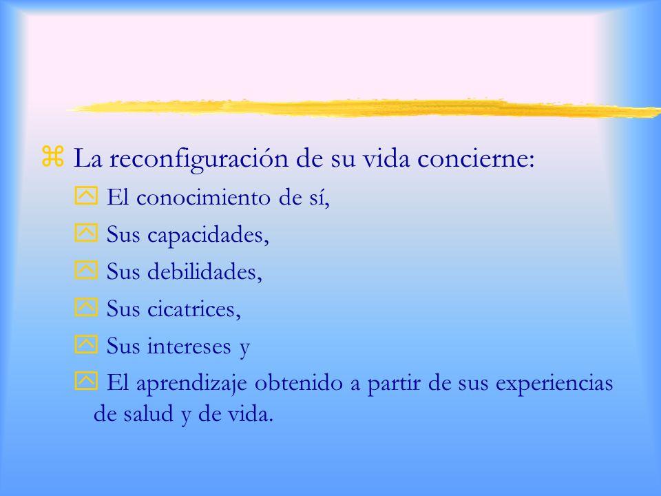 z La reconfiguración de su vida concierne: y El conocimiento de sí, y Sus capacidades, y Sus debilidades, y Sus cicatrices, y Sus intereses y y El aprendizaje obtenido a partir de sus experiencias de salud y de vida.