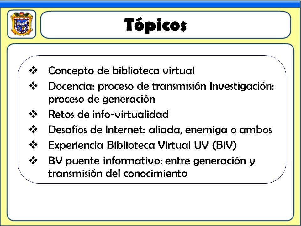 Tópicos Concepto de biblioteca virtual Docencia: proceso de transmisión Investigación: proceso de generación Retos de info-virtualidad Desafíos de Int