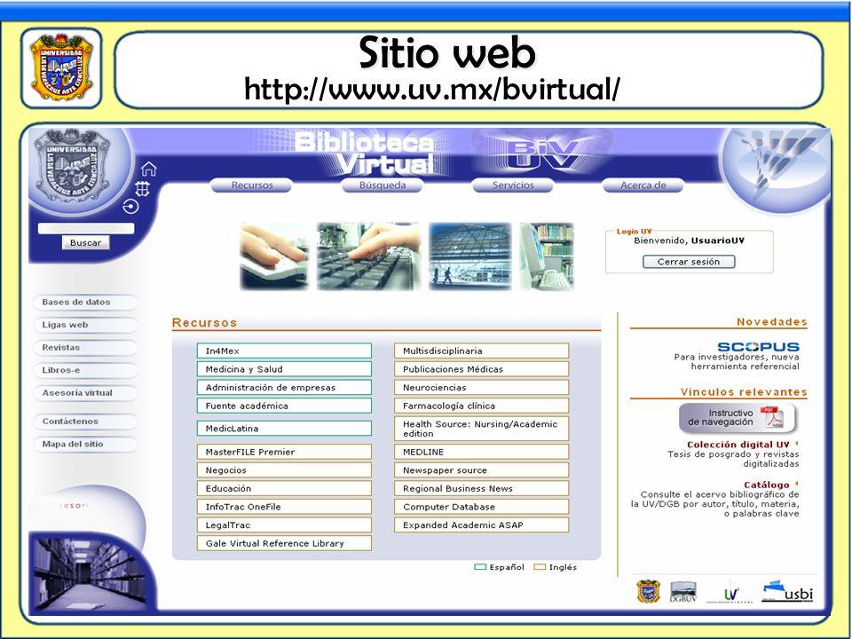 Sitio web Sitio web http://www.uv.mx/bvirtual/