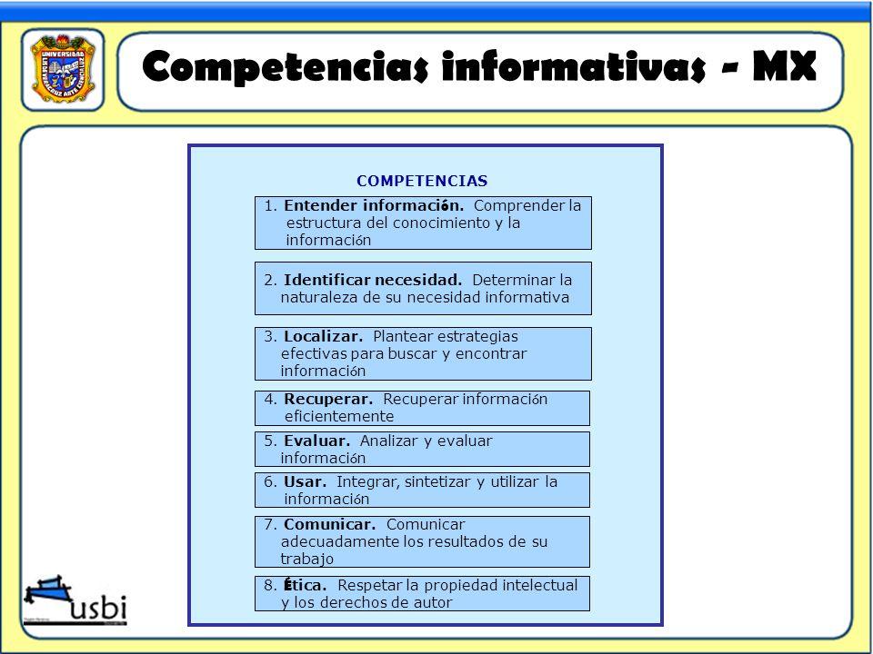 COMPETENCIAS 1. Entender informaci ó n. Comprender la estructura del conocimiento y la informaci ó n 2. Identificar necesidad. Determinar la naturalez