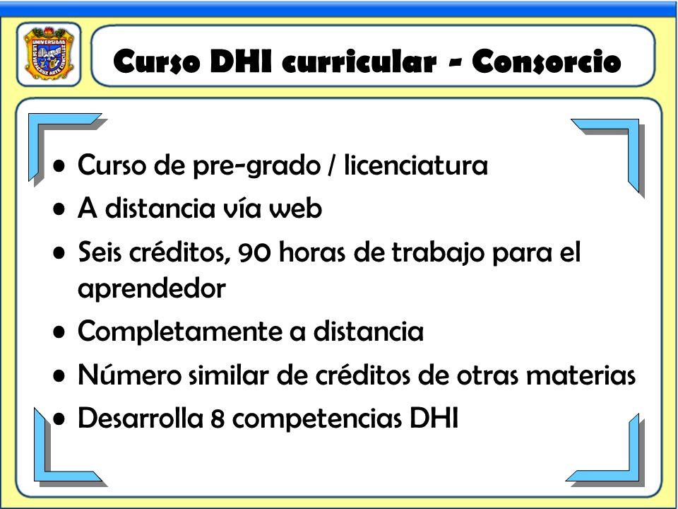 Curso DHI curricular - Consorcio Curso de pre-grado / licenciatura A distancia vía web Seis créditos, 90 horas de trabajo para el aprendedor Completam