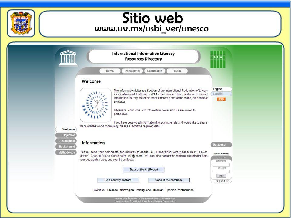 www.uv.mx/usbi_ver/unesco Sitio web Sitio web