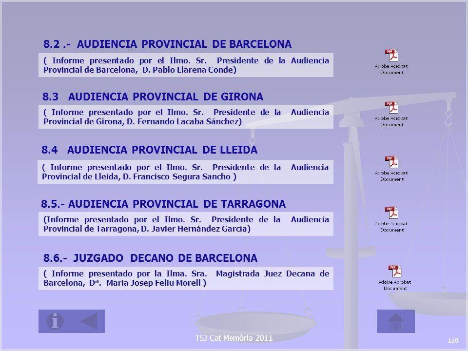 TSJ Cat Memòria 2011 8.2.- AUDIENCIA PROVINCIAL DE BARCELONA ( Informe presentado por el Ilmo.
