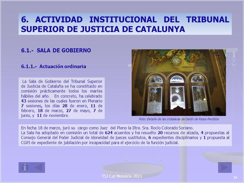 TSJ Cat Memòria 2011 Es preciso destacar que, pese a ser muy elevado el número de acuerdos adoptados, la actividad de la Sala de Gobierno ha sido aún mayor, ya que se contabilizan con un solo número los acuerdos relativos a las adscripciones semanales de los jueces sustitutos, la valoración de los informes que mensualmente remiten a la Sala de Gobierno para control de su actividad, así como los nombramientos e incidencias de los 900 jueces de paz de Cataluña.