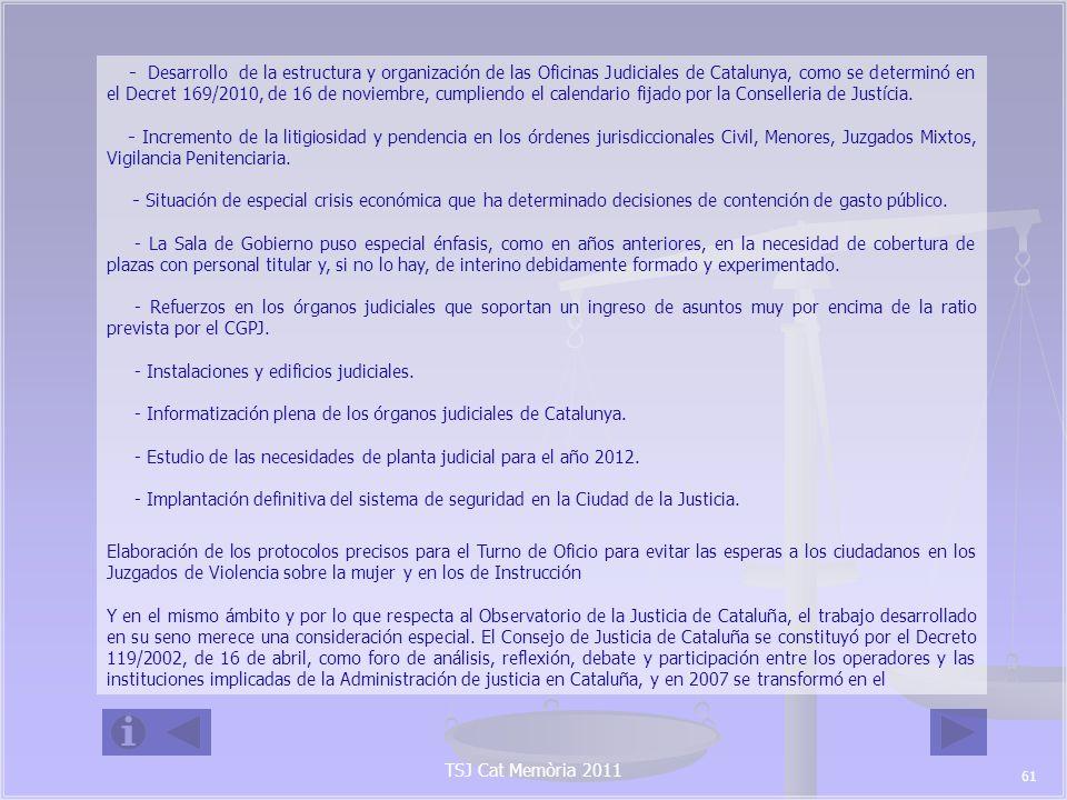 TSJ Cat Memòria 2011 Observatorio Catalán de la Justicia.