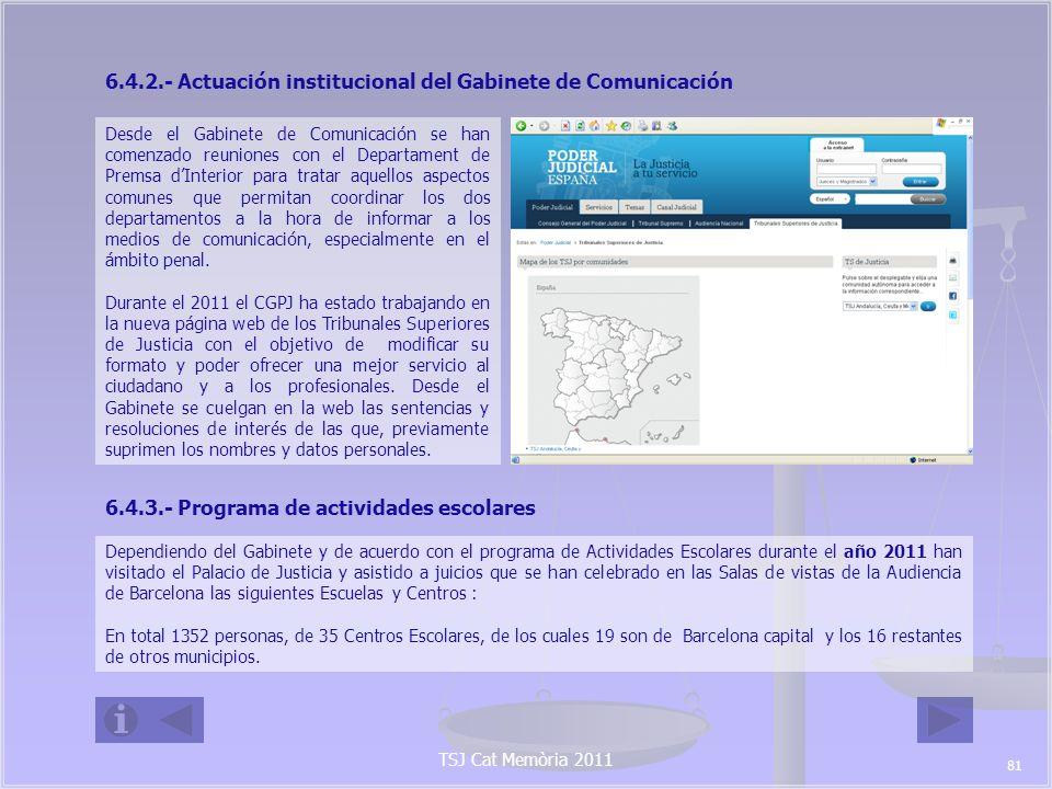 TSJ Cat Memòria 2011 La inmensa mayoría son visitas de Ciclos de Educación Secundaria Obligatoria y no obligatoria.