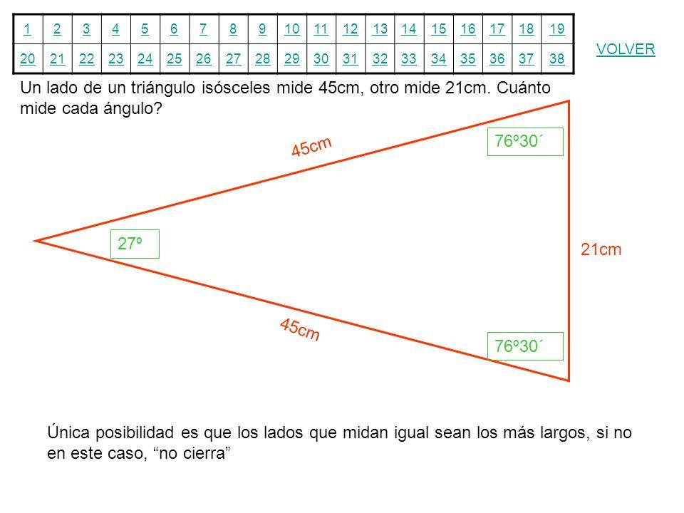 12345678910111213141516171819 20212223242526272829303132333435363738 VOLVER Un lado de un triángulo isósceles mide 45cm, otro mide 21cm. Cuánto mide c