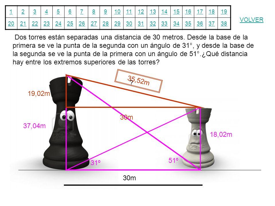 12345678910111213141516171819 20212223242526272829303132333435363738 VOLVER Dos torres están separadas una distancia de 30 metros. Desde la base de la