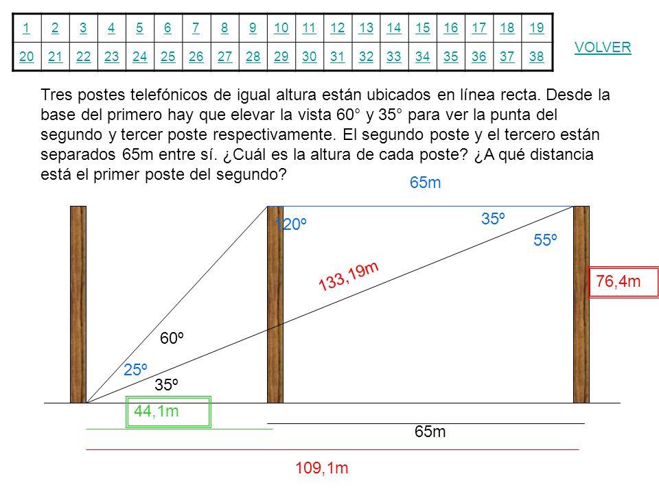 12345678910111213141516171819 20212223242526272829303132333435363738 VOLVER Tres postes telefónicos de igual altura están ubicados en línea recta. Des
