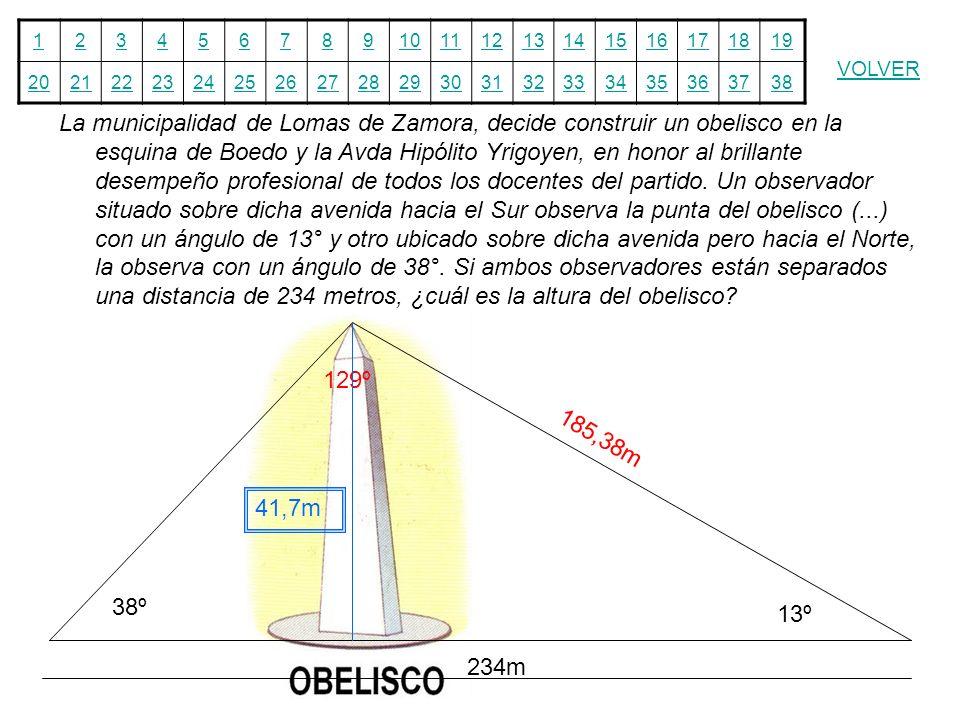 12345678910111213141516171819 20212223242526272829303132333435363738 VOLVER La municipalidad de Lomas de Zamora, decide construir un obelisco en la es