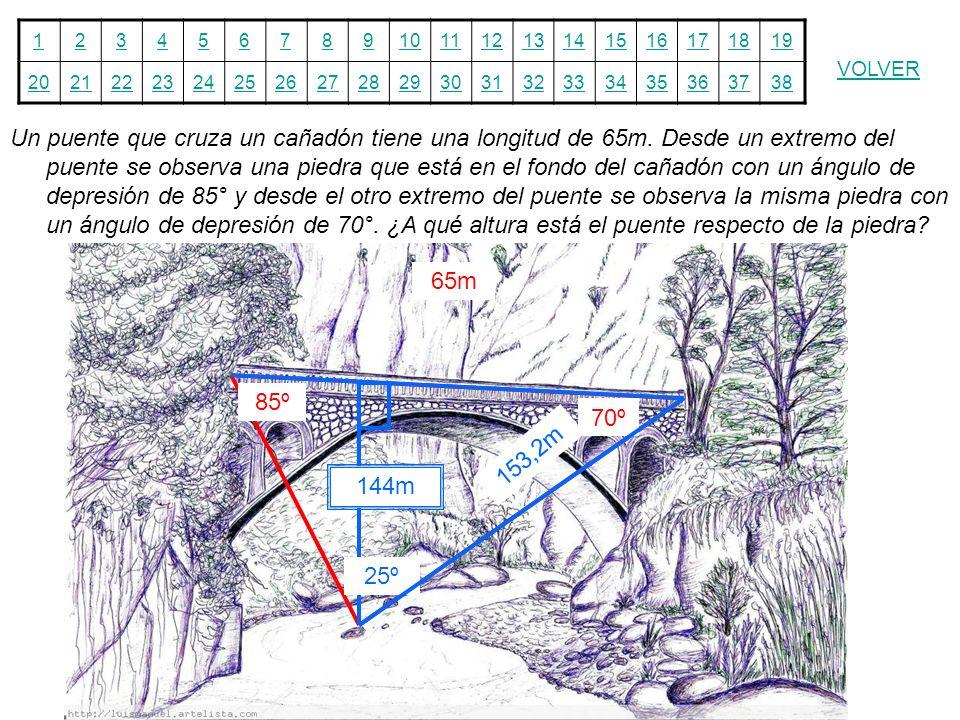 12345678910111213141516171819 20212223242526272829303132333435363738 VOLVER Un puente que cruza un cañadón tiene una longitud de 65m. Desde un extremo
