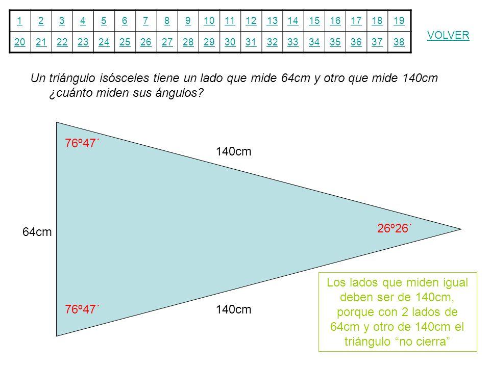 12345678910111213141516171819 20212223242526272829303132333435363738 VOLVER Un triángulo isósceles tiene un lado que mide 64cm y otro que mide 140cm ¿
