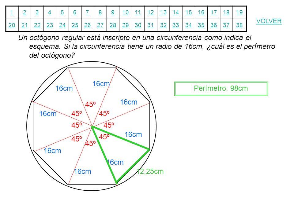 12345678910111213141516171819 20212223242526272829303132333435363738 VOLVER Un octógono regular está inscripto en una circunferencia como indica el es